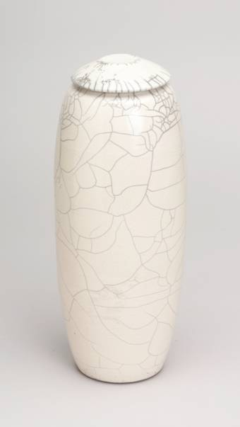 White crackle ceramic urn