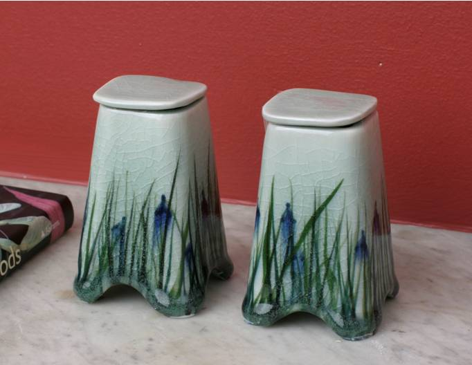 Small blue iris keepsake urns
